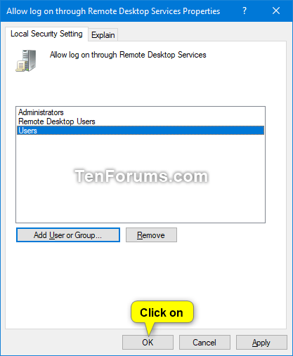 Allow or Prevent Users and Groups to Log on with Remote Desktop
