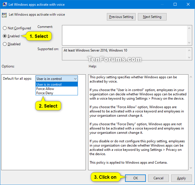 Allow or Deny Apps Access to Use Voice Activation in Windows