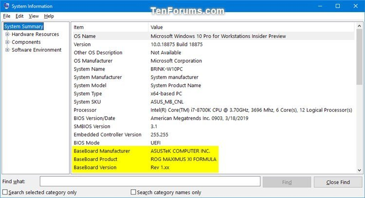 Find Motherboard Brand, Model, Serial Number, and Version in Windows