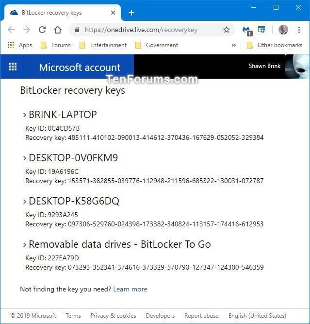find bitlocker recovery key in windows 10