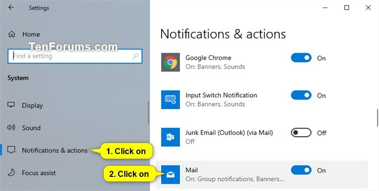 Turn On or Off Notifications from Mail app in Windows 10 | Tutorials