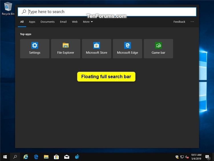 Enable or Disable Floating Immersive Search Bar in Windows 10-floating_full_search_bar.jpg