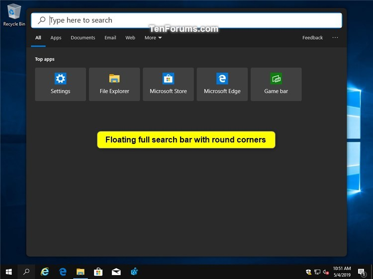 Enable or Disable Floating Immersive Search Bar in Windows 10-floating_full_search_bar_with_round_corners.jpg