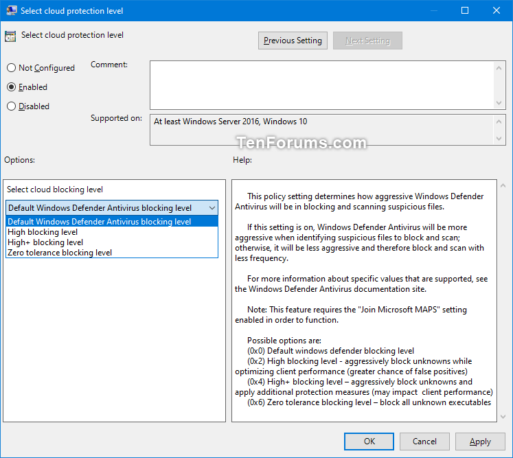 Enable Windows Defender Block at First Sight in Windows 10-select_cloud_protection_level-2.png