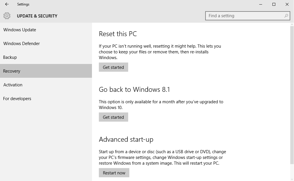 Can't recover to earlier version. Solved - Windows 10 Forums