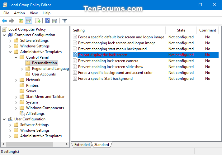 Change Highlighted Text Color in Windows 10-hilighttext_color_local_group_policy_editor.png