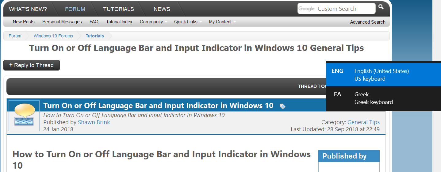 Turn On or Off Language Bar and Input Indicator in Windows 10