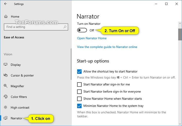 Turn On or Off Narrator in Windows 10 | Tutorials