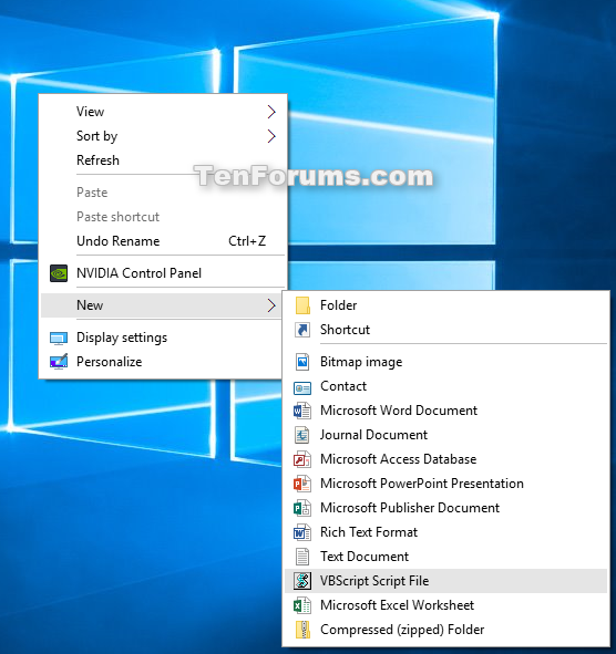 Add VBScript File to New Context Menu in Windows 10 | Tutorials
