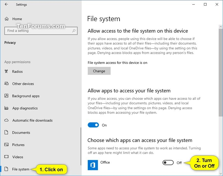 Allow or Deny Apps Access to File System in Windows 10 | Tutorials