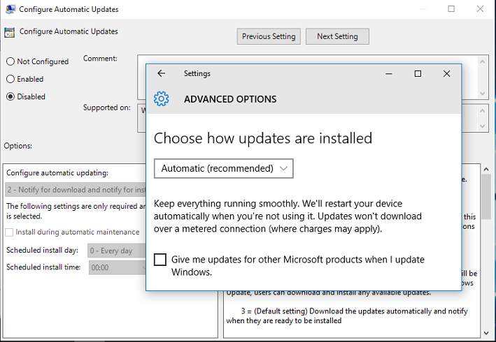 give me updates for other microsoft products when i update windows