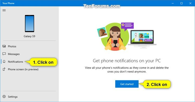 Turn On or Off Android Notifications in Your Phone app on Windows 10