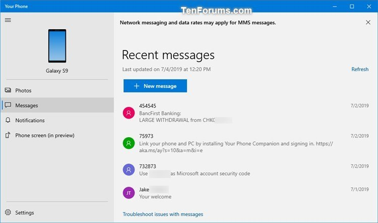 Turn Off Show Text Messages from Phone in Your Phone app on Windows 10-your_phone_messages-1.jpg