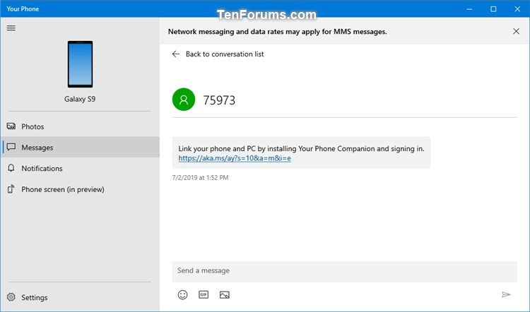 Turn Off Show Text Messages from Phone in Your Phone app on Windows 10-your_phone_messages-2.jpg