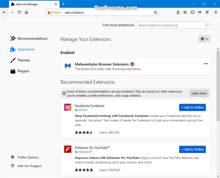 Enable or Disable Recommended Extensions in Firefox | Tutorials