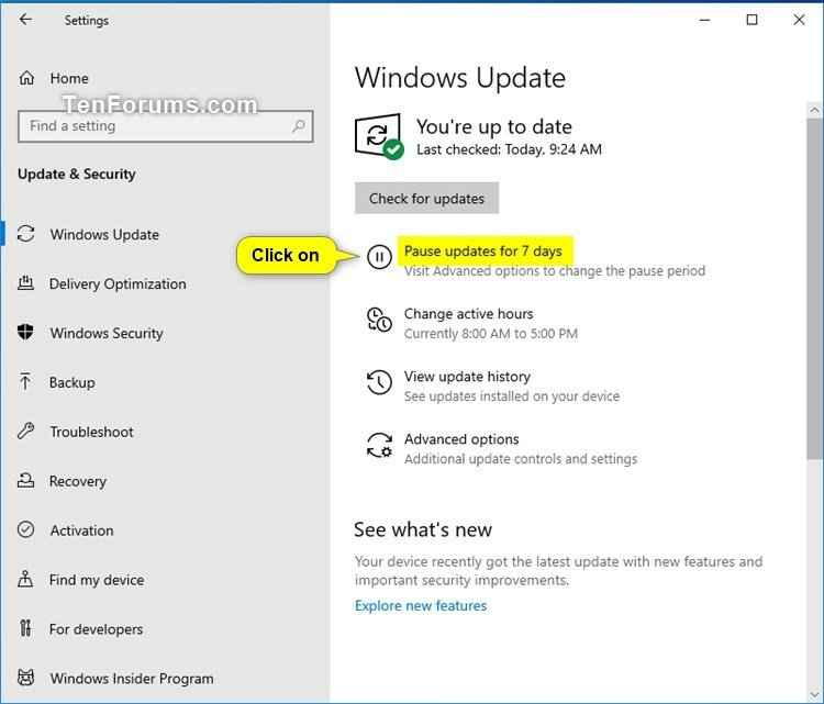 Pause Updates Or Resume For Windows Update In 10