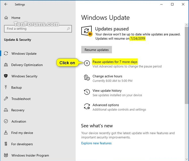 pause updates or resume updates for windows update in
