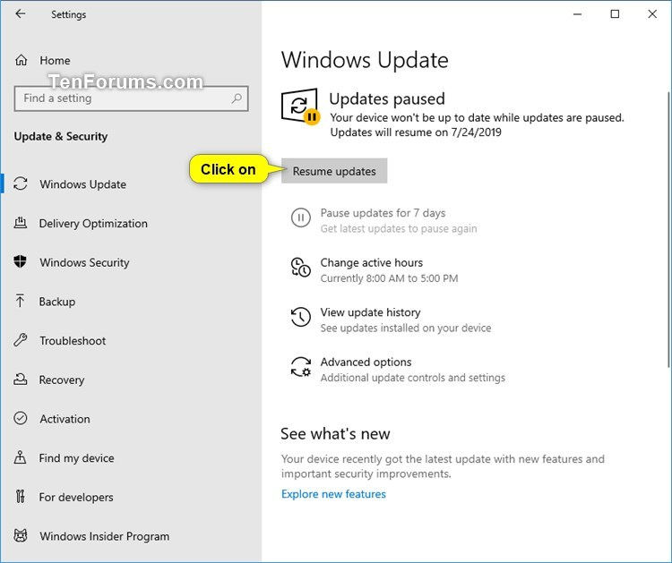 Pause Updates or Resume Updates for Windows Update in Windows 10-resume_updates.jpg