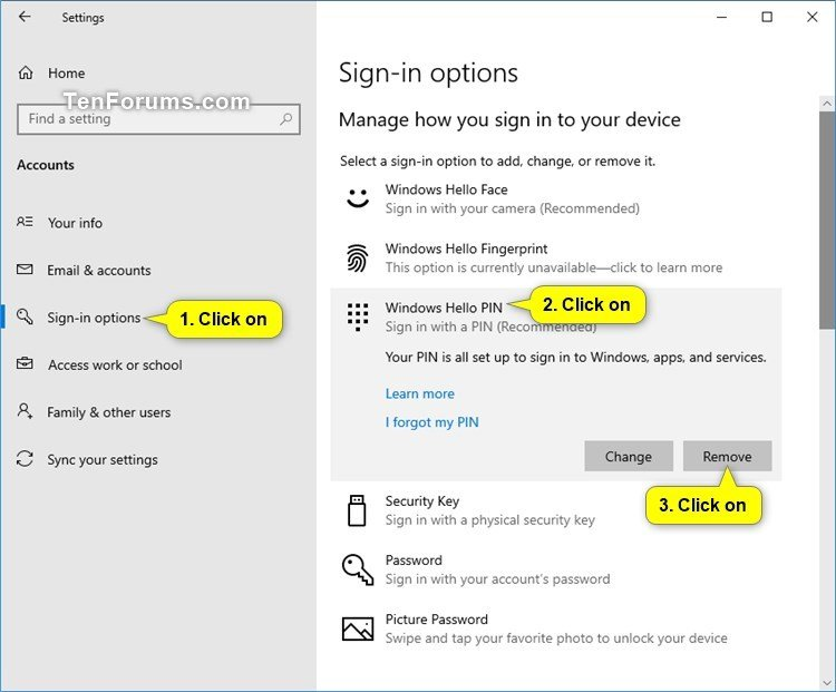 Remove PIN from your Account in Windows 10 | Tutorials