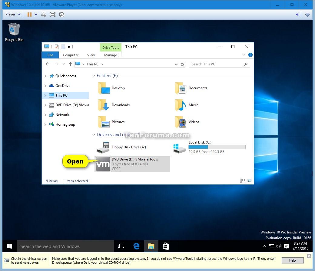 windows 10 machine vmware