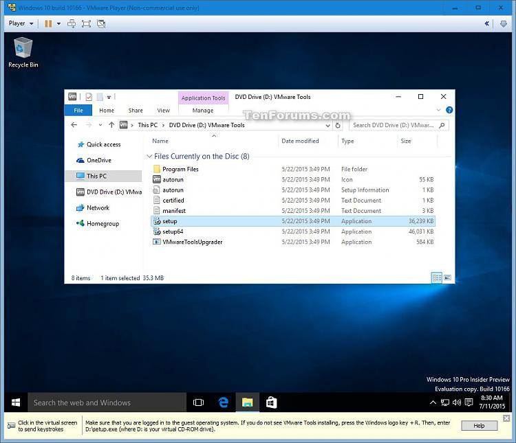 vmware machine for windows 10