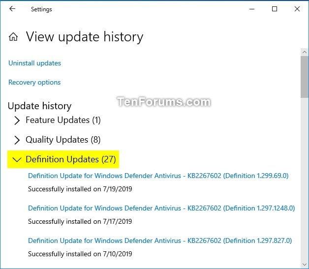 Update Security Intelligence Definition for Windows Defender