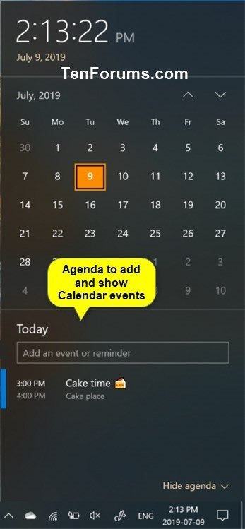 Hide or Show Calendar Agenda in Clock on Taskbar in Windows 10-calendar_agenda_on_clock.jpg