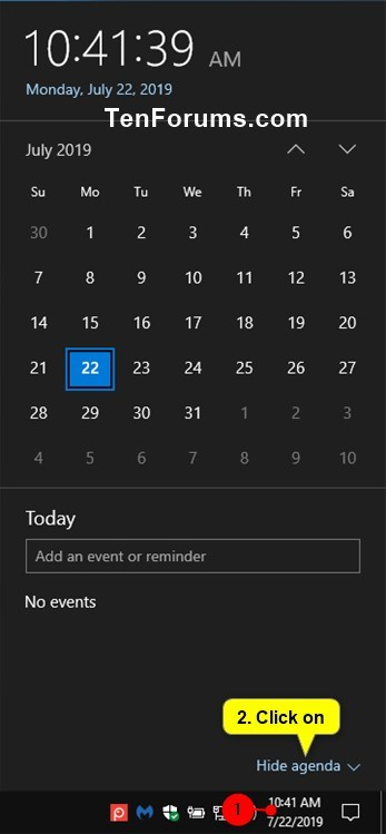 Hide or Show Calendar Agenda in Clock on Taskbar in Windows 10-hide_agenda.jpg