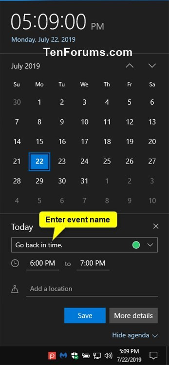Create New Event in Calendar app in Windows 10-create_calendar_event_from_taskbar-2.jpg