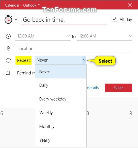 Create New Event in Calendar app in Windows 10-create_calendar_quick_event-8.jpg