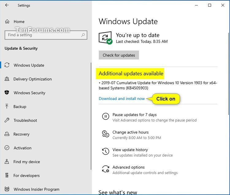 Check for and Install Windows Update in Windows 10-additional_updates_available.jpg