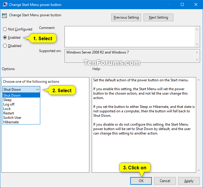 Change Default Action of Shut Down Windows Dialog in Windows 10