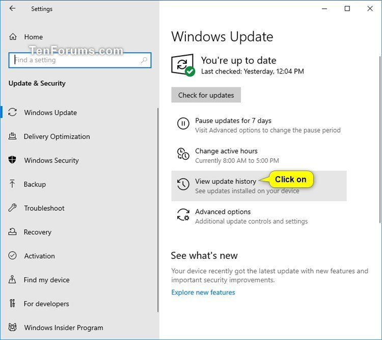 View Windows Update History in Windows 10 | Tutorials