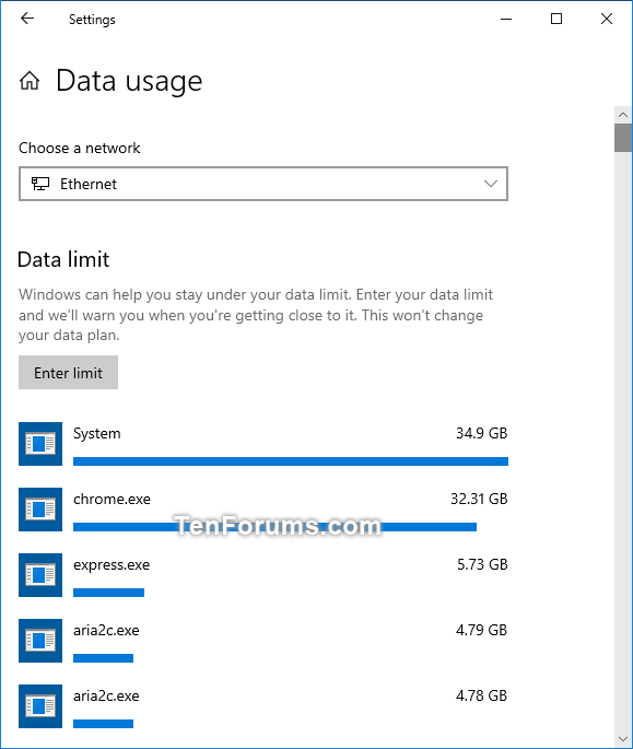 Set Data Limit for Wi-Fi and Ethernet Network in Windows 10