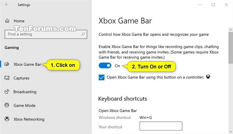 Turn On or Off Xbox Game Bar in Windows 10 | Tutorials
