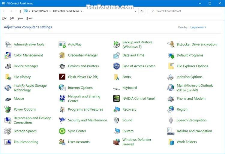Open Control Panel in Windows 10 | Tutorials