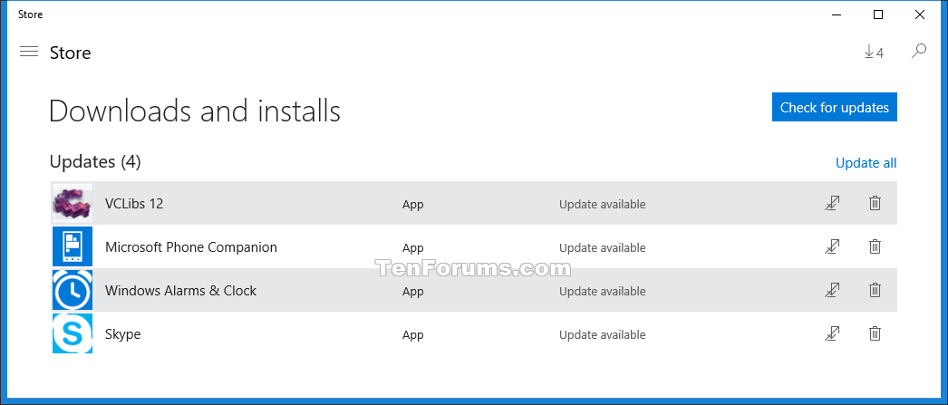 Create Check for Updates in Store Shortcut in Windows 10