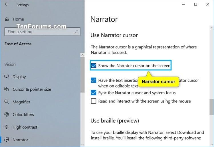 Customize Narrator Cursor Settings in Windows 10 | Tutorials