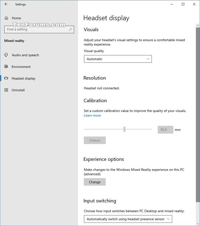 Add or Remove Mixed Reality page from Settings in Windows 10-mixed-reality_headset_display-settings.jpg