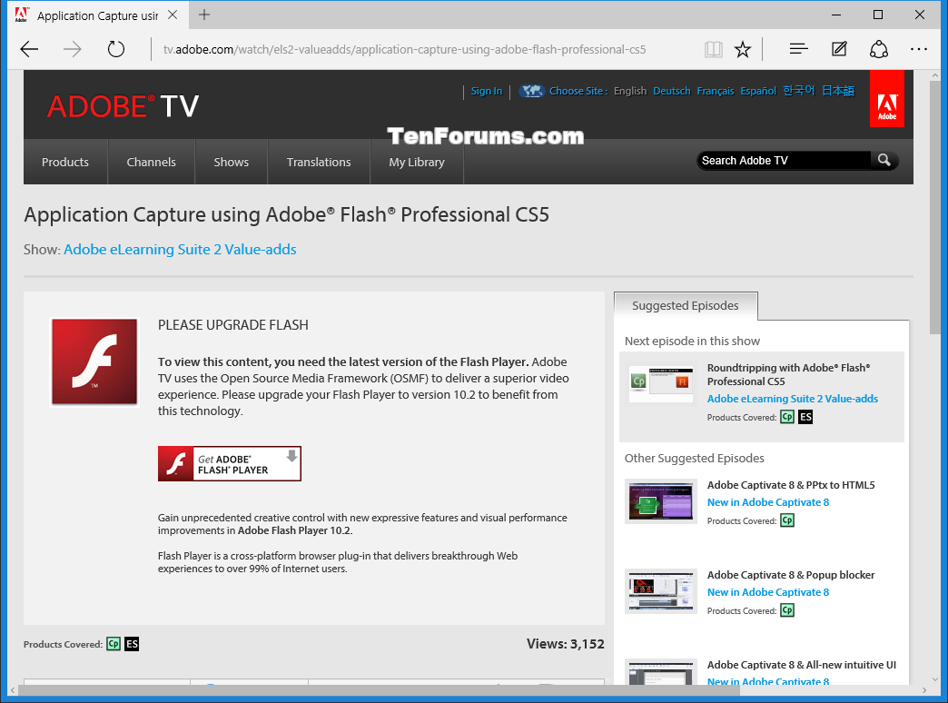 Enable Or Disable Adobe Flash Player In Microsoft Edge In