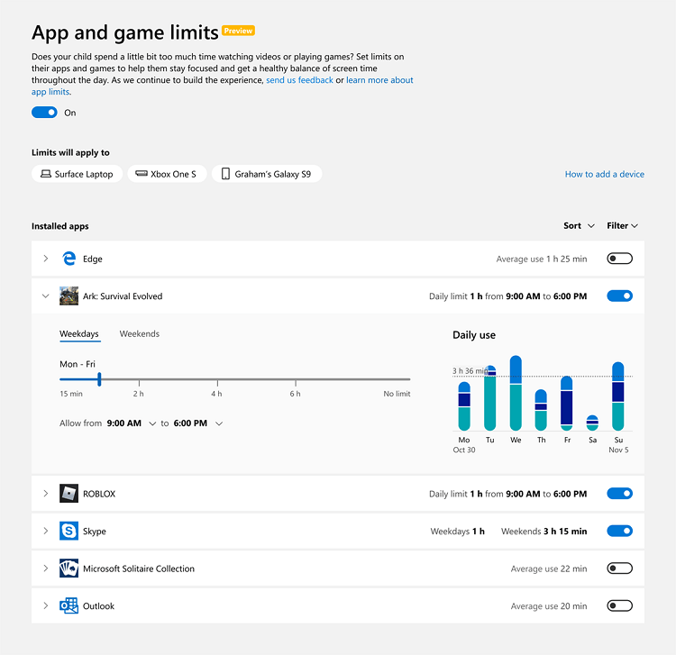 Manage Microsoft Family Settings for Child in Windows 10-microsoft_family_app_and_game_limits.png
