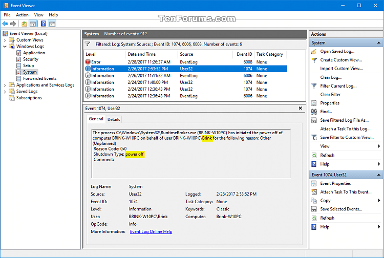 Read Shutdown Logs in Event Viewer in Windows-event_id_1074_power-off.png