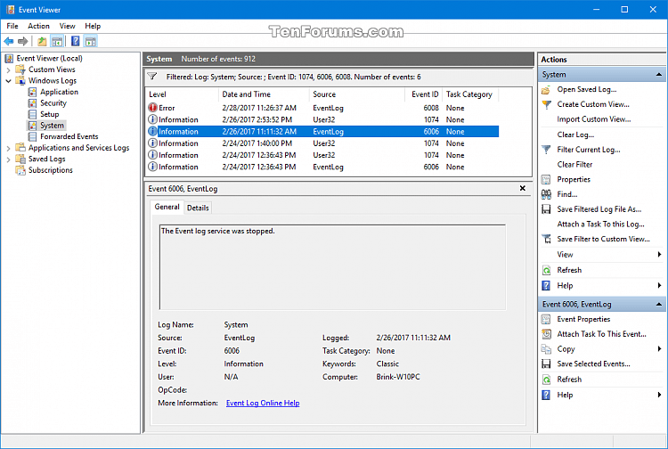 Read Shutdown Logs in Event Viewer in Windows-event_id_6006.png
