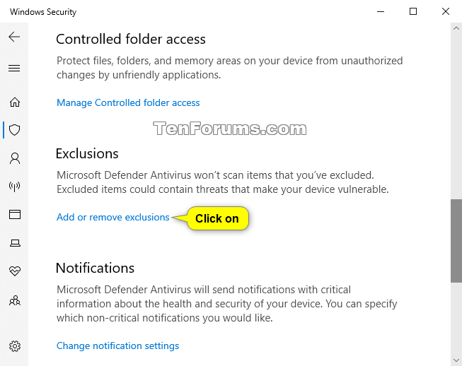 Add or Remove Windows Defender Antivirus Exclusions in