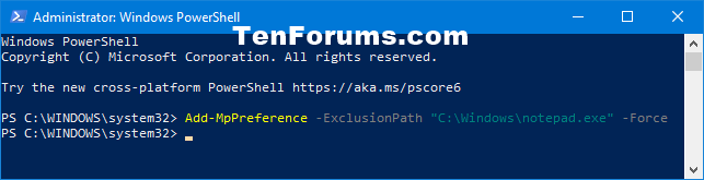 Add or Remove Windows Defender Antivirus Exclusions in Windows 10-add_windows_defender_file_exclusion_powershell.png