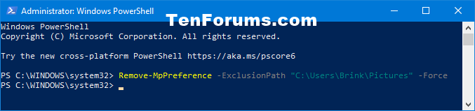 Add or Remove Windows Defender Antivirus Exclusions in Windows 10-remove_windows_defender_folder_exclusion_powershell.png