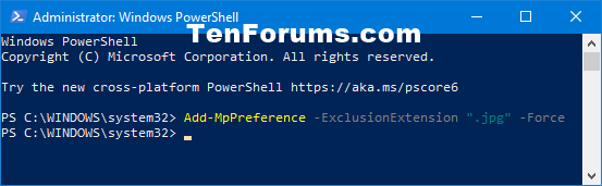 Add or Remove Windows Defender Antivirus Exclusions in Windows 10-add_windows_defender_file_type_exclusion_powershell.png