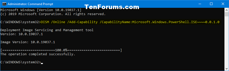 How to Install or Uninstall Windows PowerShell ISE in Windows 10-install_poweshell_ise_command.png