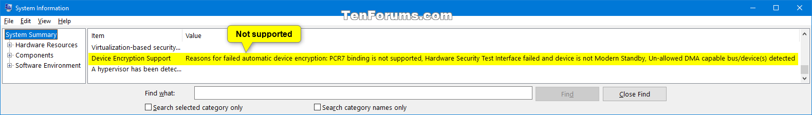 Device Encryption Not Supported