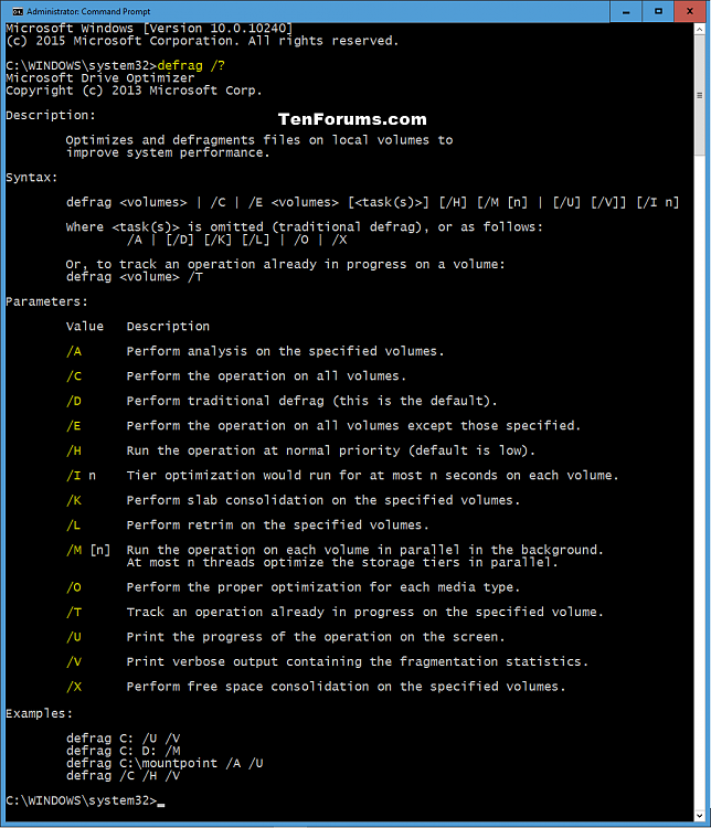Click image for larger version.  Name:defrag_command_parameters.png Views:706 Size:85.6 KB ID:25838